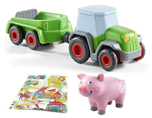 Haba Traktor mit Anhänger und Ferkel Geschenkset Little Friends Bauernhof