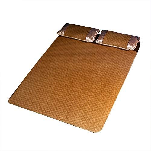 DEWIN Sábana de bambú de ratán - Textil para el hogar Juego de sábanas Ajustables de Rejilla de Estera de ratán Funda de Cama Fresca de Verano(135 * 200 cm 枕套 48 * 74 cm * 2)