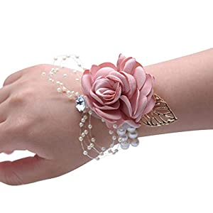 Wrist Corsage, Pack of 2 Wedding Bridal Wrist Flower Corsage Hand Flower Decor for Prom Party Wedding Homecoming (14)