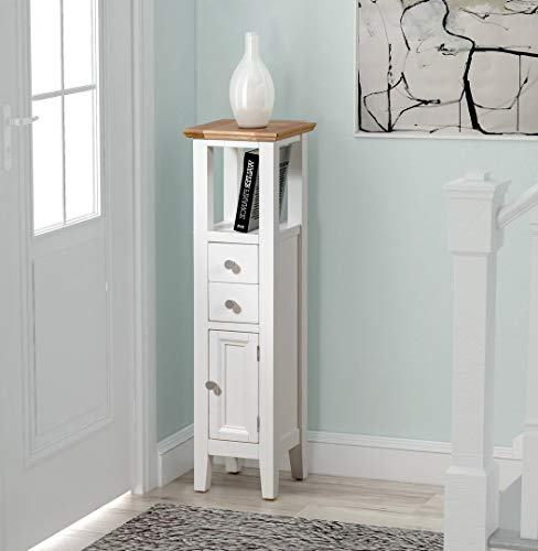 Hallowood Clifton Small Wooden Hallway Cabinet | Cream Compact Bathroom Cupboard/Tower | Bedside/Telephone/Side/Console End Table Nightstand Unit, Off White Painted Body with Light Oak Top, CLF-CUP940