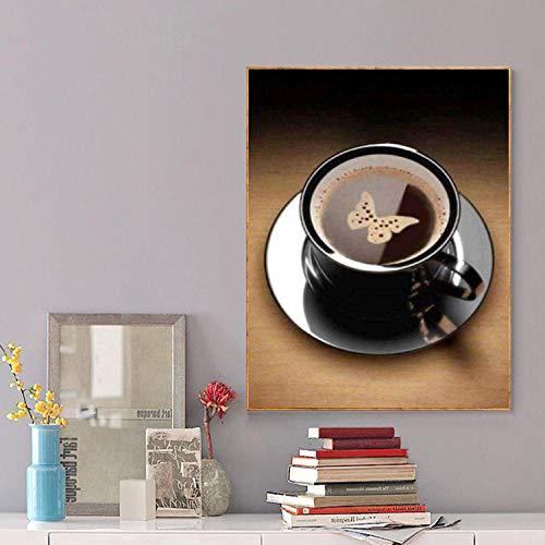 YQZS diamantschilderij 5D diamantschilderij DIY vlinder kop koffie strass kruissteek eenvoudig te bedienen 30X40CM