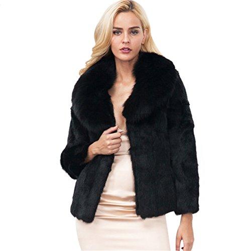 Longra Mujer Invierno Abrigo, Negro Prendas de Vestir Las Mujeres de otoño Invierno Elegante cálido Abrigo Largo de Piel sintética de Pelo Chaqueta Outwear