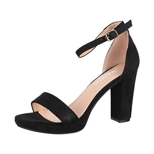 Elara Damen Pumps High Heels Chunkyrayan WW100 Black-37