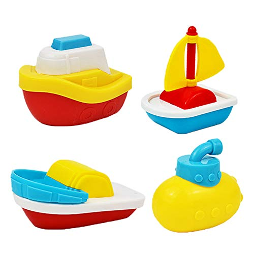 INTVN Barco de baño para niños, Barcos bebé bañera baño Piscina de Juegos de Agua Diversión Juguetes para niños temprano Educativo del Juguete de Aprendizaje(4pcs)