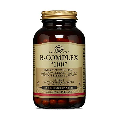 Solgar B-Complex '100', 100 Vegetable Capsules - Heart Health - Nervous System Support - Supports Energy Metabolism - Non GMO, Vegan, Gluten Free, Dairy Free, Kosher, Halal - 100 Servings