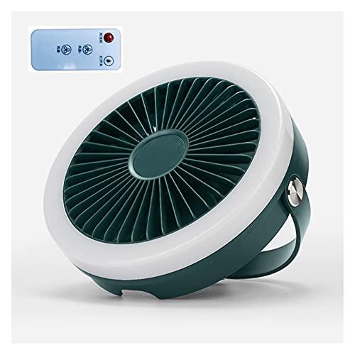 Fácil de Transportar Ventilador pequeño 4000mAh USB Control Remoto Recargable 3 Engranajes Ventilador de Techo Colgante con lámpara de luz LED para Camping al Aire Libre Cama de Tienda (Color : GN)
