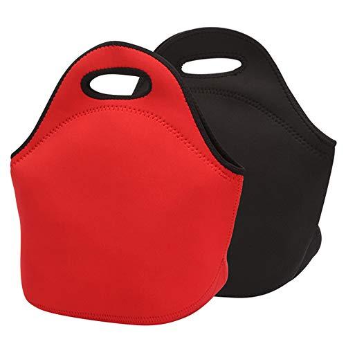 Tasquite Paquete de 2 cajas de almuerzo con aislamiento térmico resistente al agua, bolsa de transporte impermeable para almuerzos escolares, picnics o excursiones de un día (negro + rojo)