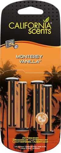 California Car Scents - Ambientador de Coche con Fragancia, Olor y Esencias a Monterey Vanilla, Aroma a Vainilla (Bastones de ventilación, 4UDS)