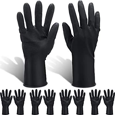 8 Pairs Hair Dye Gloves Anti-skid Hair Color Gloves Waterproof Hair Salon Gloves Thickened Reusable Hair Dye Tools Black Large Gloves Hair Coloring Accessories for Home and Salon
