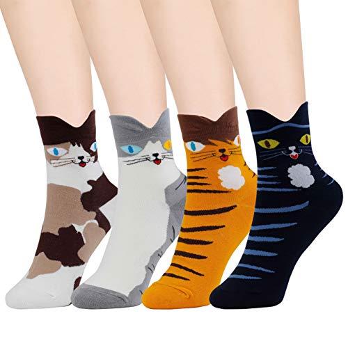 HONGXIN-SHOP Calcetines de Mujer Coloreados Algodón Calcetines Patrón de Gato Adulto Unisex Calcetines Térmicos 4 Pairs