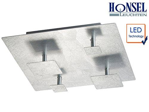 Exclusieve LED plafondlamp SET bladzilverkleurig, vierkant 30 x 30 cm, LED 15W