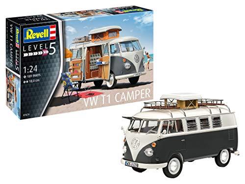 Revell 7674 Volkswagen VW T1 Bulli Camper, Campingbus zum Selberbauen 1:24, 18 cm Zubehör, Unlackiert