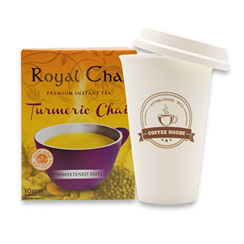 Vedmantra Gift Set of Royal Chai Unsweetened with Vedmantra Travel Mug - No Sugar (Turmeric, Pack of 20 (280gm))