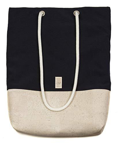 HENTIES Sverre Designer Rucksackhandtasche – Damen Handtasche aus Kork auch als Rucksack oder Umhängetasche tragbar – Handmade in Deutschland und 100% Vegan (Navy White)