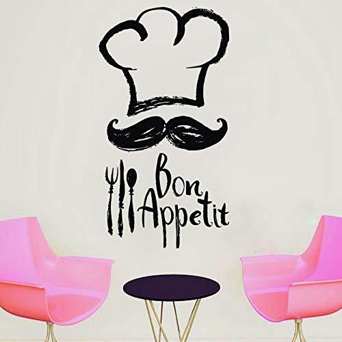 Chef Moustache Cocina Vinilo Adhesivo Cocina Alto Chef Cita Bonappetit Tatuajes De Pared Decoración De La Habitación Impermeable 42 * 78Cm