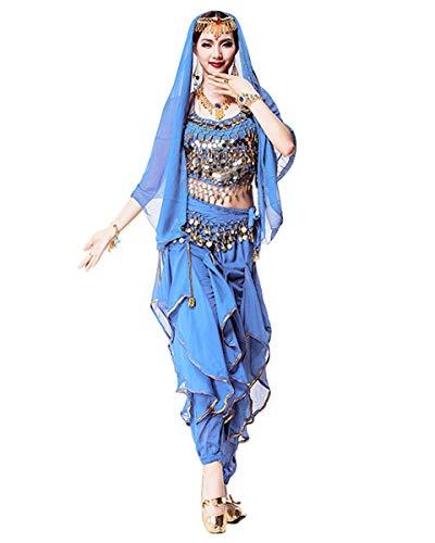 Grouptap Bollywood indischen Frauen 4-teilige kuchipudi bharatanatyam arabischen Bauchtanz Top Hosen Schleier Kostüm blau Erwachsene Dame (Blau, 155-175 cm)