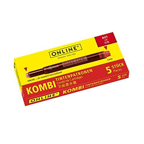 ONLINE Kombi-Tintenpatronen, Universal-Patronen, kompatibel mit allen gängigen Füllern, auch Lamy-Füller, Ersatz-Patronen, Schachtel mit 5 Großraum-Patronen, Farbe: Rot