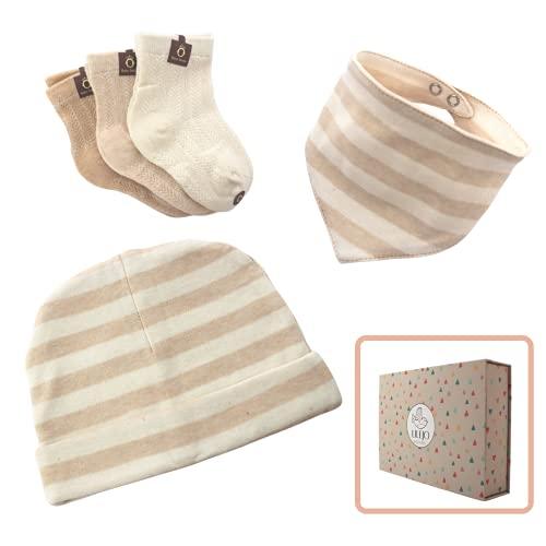 Geschenkset zur Geburt, Mütze, Halstuch und Socken für neugeborenes Baby, für Mädchen und Jungen, Geschenk für Eltern und in der Schwangerschaft, Bio-Baumwolle, 5-teilig