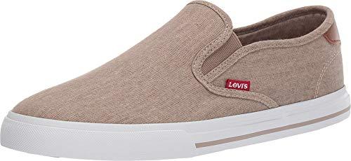 Levi's Mens Seaside CT L Casual Rubber Sole Slip-On Sneaker Shoe, Khaki, 8.5 M