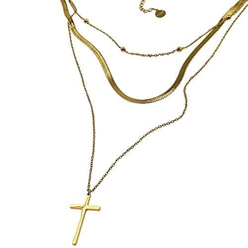 Collar famoso AISADI 20090705/18 para un regalo, rosario con cruz, chapado en oro, hipoalergénico, de acero inoxidable quirúrgico, Bluberry TTM Xuping Moonriver, de acero inoxidable Sunlight