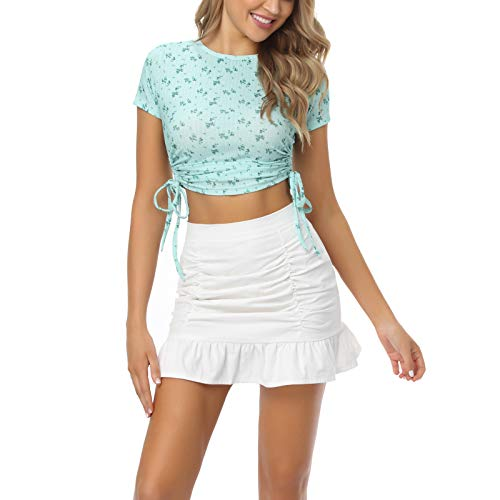 ZZLBUF Women's Short Sleeve Crop Top,Summer Slim Solid Color/Floral Drawstring Tops (Green Floral, M)