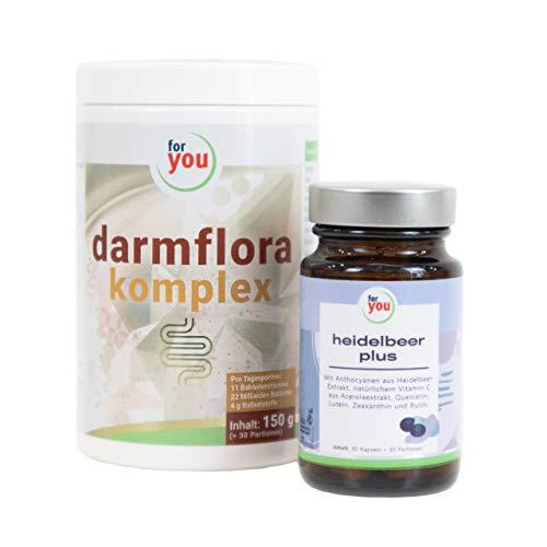 for you Darmgesundheits-Set bestehend aus heidelbeer plus Kapseln & darmflora komplex I Nahrungsergänzung I vegan I ohne Zucker I laktosefrei I glutenfrei