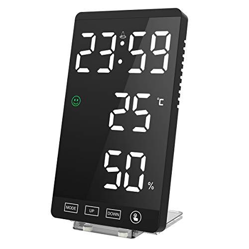 KeeKit Reloj Despertador Digital LED con Superficie de Espejo de 6 Pulgadas, Monitor de Humedad de Temperatura Interior con Puertos de Carga USB, Función de Repetición, Brillo Ajustable Automático y Manual para el Hogar, Recámara