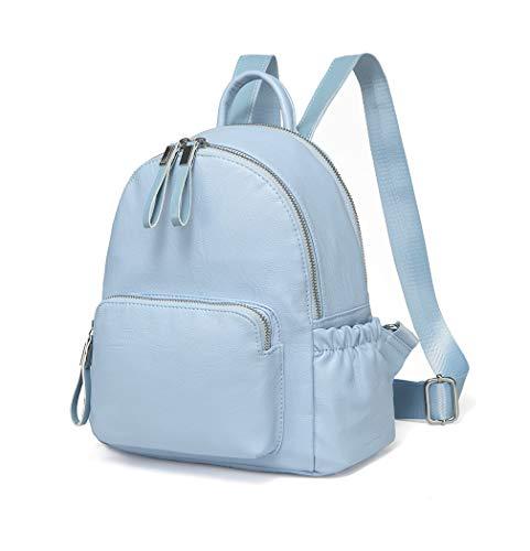 VASCHY Pu Leather Mini Backpack Girls Backpack Fashion Backpack Lightweight School Bag Women Backpack (Sky Blue)