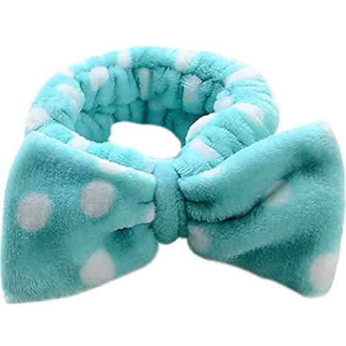 Ogquaton Pince à cheveux bande de cheveux beau point bowknot bandeau bandeau femmes cerceau à cheveux pince à cheveux outil de maquillage bleu créatif et utile