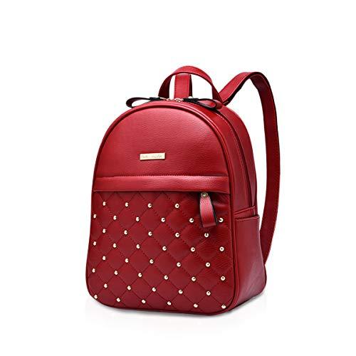NICOLE & DORIS Damen Mode Rucksack Schultasche Rucksack Umhängetasche mit Niet Leicht Gitter Beiläufig Tagesrucksack PU Leder Rotwein