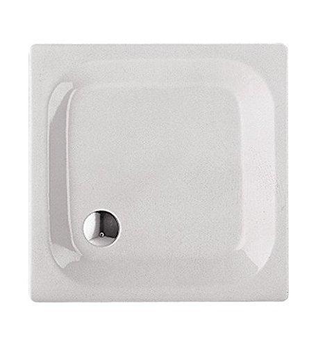 'aquaSu® Stahl-Brausewanne Glata | 80 x 80 x 6,5 cm Weiß
