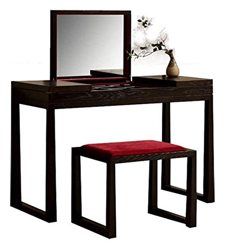 LXYYY Best Design Vanity Benches Dressing Table with Foldable Mirror and Stool Makeup Vanity Table Bedroom Dresser Set with 10 Compartments for Storage Great Gift for Girls Women