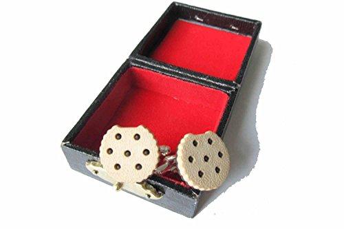 Miniblings Keks Doppelkeks mit Biss Manschettenknöpfe Box Chocolate Chip hell - Herrenschmuck Manschettenknopf Cufflinks Hemdknöpfe I Holzbox inklusive