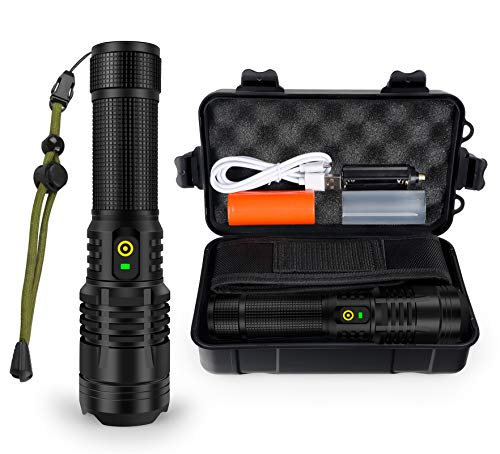 3000 Lumen Rechargeable Tactical Flashlight - YXQUA XHP70 High Lumen Flashlight IP67 Water Resistant,5 Modes and Zoomable for Camping, Emergency, Hiking, Gift
