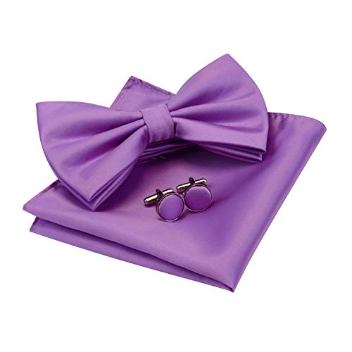 GUSLESON Mens Light Purple Bow Tie Solid Wedding Pre-tied Bowtie and Pocket Square Cufflink Set (0570-16)
