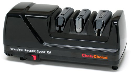 Chef'sChoice 130 Professional Electric Knife Sharpening Station for Straight and Serrated Knives and Uses Diamond Abrasives Made in USA, 3-Stage, Black