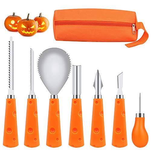 DIAOCARE Halloween Kürbis Schnitzset, Edelstahl Kürbis Schnitzwerkzeuge 7-teiliges Set, Deco Halloween DIY Professionelles Pumpkin Carving Kit für Kinder und Erwachsene-mit Aufbewahrungstasche