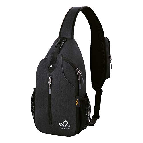 Waterfly Crossbody Sling Backpack Sling Bag Travel Hiking Chest Bag Daypack (Black)