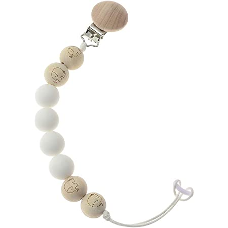 Paci Clip Baby Shower Gift Teether Pacifier Chain Binkie Clip Binky Clip Modern Wood and Silicone Pacifier Clip Rattle Pacifier Clip