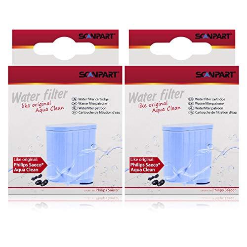 2 filtros de agua Scanpart para Saeco Xelsis Incanto Intelia Exprelia Pico Gran Baristo como Aqua Clean