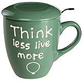 Baroni Home Tazza da tè in Ceramica con Filtro in Acciaio Inox. Tisaniera con Tappo/piattino Colorata Verde Think Less Live More 13x10x11 cm