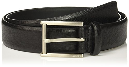 Calvin Klein Men's Calvin Klein 35mm Feather Edge Strap Textured Leather Belt, black Brushed Nickel, 34