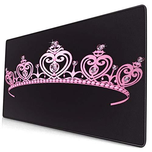 LASINSU Alfombrilla Gaming,Princesa Corona de Color Rosa plido con Figuras de Diamantes Disfraz de la Familia Real del gobernante de la nacin,con Base de Goma Antideslizante,7504003mm