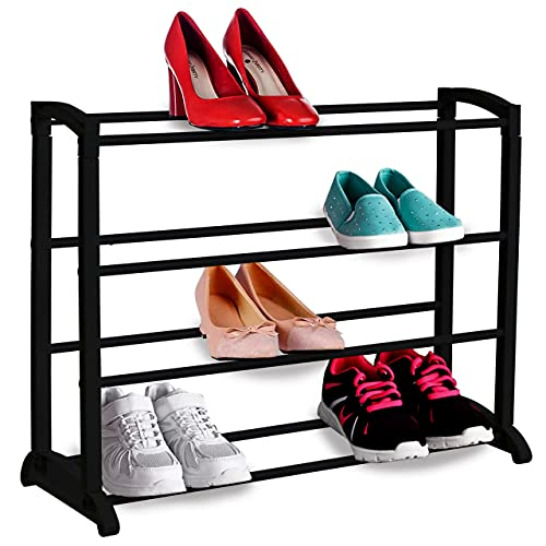 Nyxi 4 Tier Shoe Rack Extendable & Stackable, Quick Assembly No Tools Required - Holds 12 Pairs - (L) 65cm x (W) 16.5cm x (H) 50cm (Black)