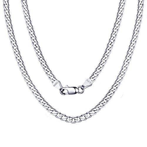 ChainsPro Collar Superfina Plata de Ley S925 de Mujeres, 1/3/5 MM Cadena Cubana/Fígaro/SOGA/Rolo/Cajita, Joyería Simple Básica Moderna de Regalo, 36/41/46/51/55/61/66/71/76 CM Largo