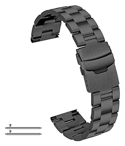 Wensong Correa de Reloj de Acero Inoxidable clásico cónico 20 mm 22 mm 24 mm Lanzamiento rápido 3 Filas Reloj de reemplazo Banda for Hombres Mujeres Pliegues sobre botón Negro Plata