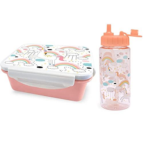 I-Drink Kit Lunch Box Porta Merenda Alimenti + Borraccia Tritan 400ml, per Bambini, Picnic, Porta Alimenti Ermetico, con Disegni Infanzia