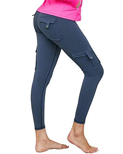 Nuofengkudu Damen High Waist Sporthose Leggings mit Taschen Militärisch Stil Stylisch Push up Tights Hosen Jogginghose Sportleggins(V-Marineblau,XL)