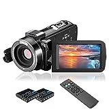 MELCAM 1080P 30FPS Vlogging Cámara para YouTube, Full HD IR visión nocturna, videocámara de 3 pulgadas, pantalla IPS, zoom digital de 16 aumentos, con mando a distancia