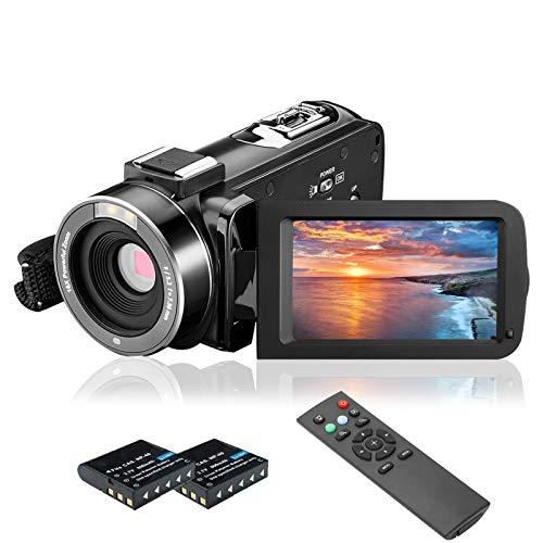 Videokamera Camcorder, MELCAM 1080P 30FPS Vlogging Kamera für YouTube, Full HD IR Nachtsicht Camcorder 3-Zoll IPS-Bildschirm 16-facher Digitalzoom Digitalkamera mit Fernbedienung